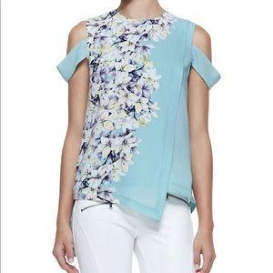 Bcbg Alexia Floral-Print Cold-Shoulder Top